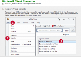 Import eM Client to Outlook PST screenshot